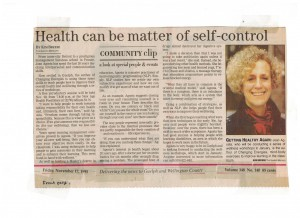 Guelph Mercury article, November 17, 1995 shortly before beginning training with Sue Maes.